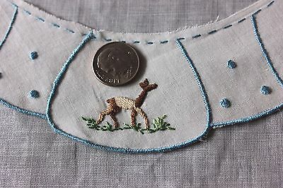 Vintage Tiny Doll Scale Swiss Hand Embroidered Deer Child's Collar Sample