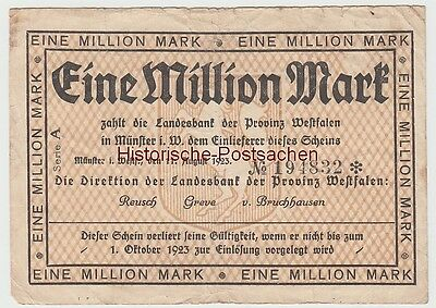 (D890) Geldschein Inflation 1923, Landesbank Westfalen, 1 Million Mark