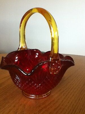 Red Basket with yellow Handle.  HEIRLOOM CARNIVAL GLASS BASKET