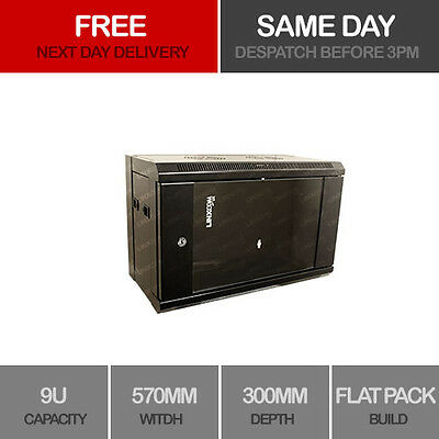"""9U 19"""" Network Cabinet Rack Wall Mounted 570*300mm Server Data Comms Patch Panel"""