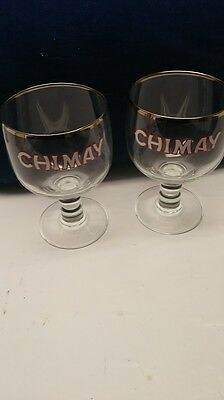 SET of TWO BELGIAN BEER GLASSES - THE CLASSIC CHALICES OF CHIMAY