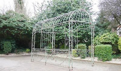 Shabby Chic Pale Green Scroll Design Large Garden Rose Arch Or Gazebo