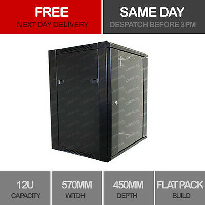 "12U 19"" Network Cabinet Rack Wall Mounted 540*450mm Black Data Comms Patch Panel"