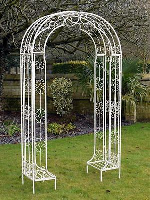 "Antique White ""Amelie"" Scroll Design Garden Arbour Rose Arch"