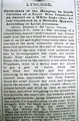 1882 newspaper NEGRO MAN LYNCHED @ COLUMBIA South Carolina ATTACKED WHITE WOMAN