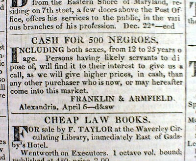 1836 DC newspaper ad 500 NEGRO SLAVES WANTED TO BUY for CASH Alexandria VIRGINIA