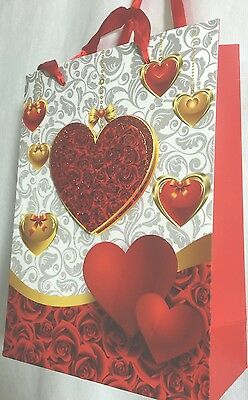 PAPER VALENTINES 3D Glitter HEART CHRISTMAS BIRTHDAY WEDDING PARTY LOOT Gift BAG