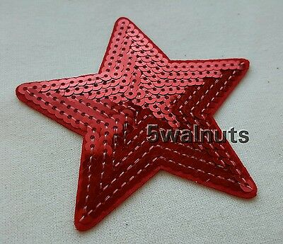 RED Iron on Sequin Embroidered Star Patch Applique Motif Trim - 9cm