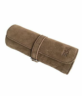 Luxury Brown Italian Suede Leather Watch Case Travel Pouch Roll Made In Italy