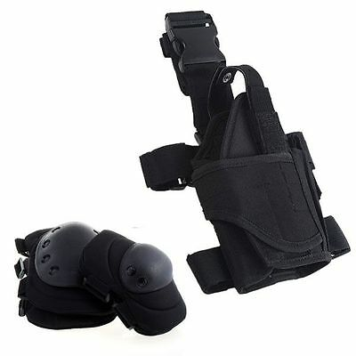 Airsoft Pistol holster & Knee, Elbow Pads Black Tactical Knee & Elbow Pads