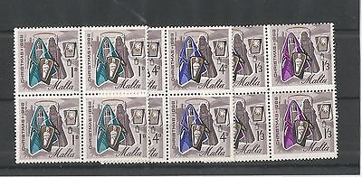 Malta 1966 Christmas In Blocks Of Four Sg,376-378 Um/m Nh Lot 2369A