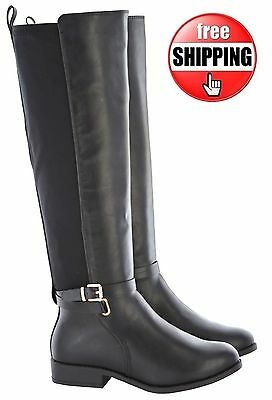 b2dfdd166e2f Womens Ladies Flat Wide Calf Wide Fitting Double Elastic Riding Fashion  Boots Sz