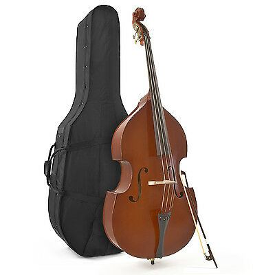 New 1/2 Size Double Bass with Hard Carry Case by Gear4music