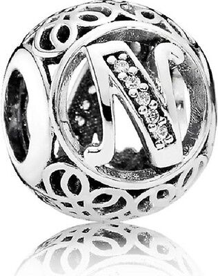 New Authentic Pandora Charm 791858CZ Vintage Letter N Clear CZ Box Included
