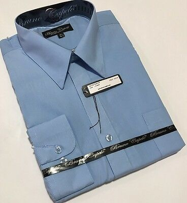New BRUNO CAPELO Mens Dress Shirt Long Sleeves Cotton Blend Light Blue BCDS-105