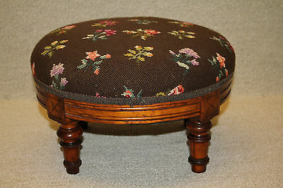 Darling 19th C. French Louis XIV Walnut Round Footstool Foot Stool