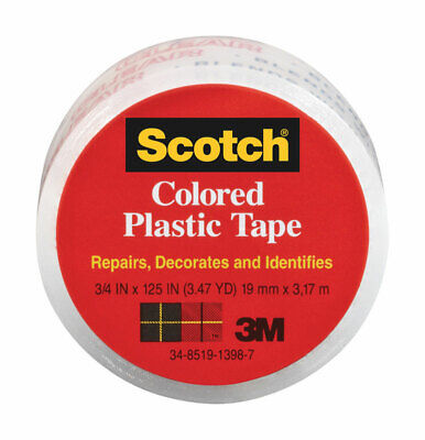 "3m Colored Plastic Tape 3/4 "" X 125 "" Clear Pack of 6"