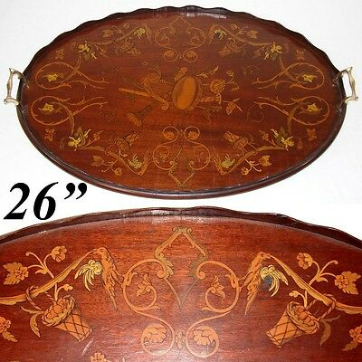 "Gorgeous Antique European 26"" Tea or Serving Tray, Ornate Figural Inlay, Musical"