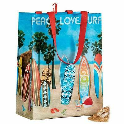 Surfboards Peace Love Surf Reusable Grocery Bag Market Tote Eco-Friendly Beach