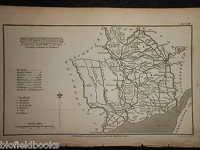 Original Antique Map of Monmouthshire (South Wales) 1808 - Monmouth, Welsh