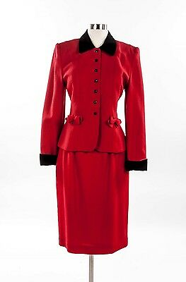 90's Lord & Taylor RED WOOL SKIRT SUIT 6 Wear To Work
