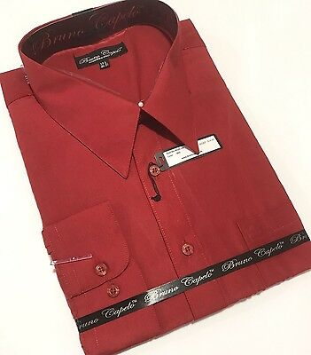 New BRUNO CAPELO Mens Dress Shirt Long Sleeves Cotton Blend Red Big szs BCDS-108