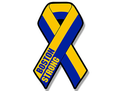 3x5 inch RIBBON Shaped Boston Strong Sticker - decal mass marathon remember run