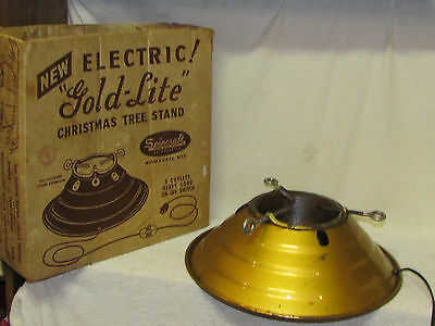 Vintage 1950s Spincraft Electric Gold-Lite Christmas Tree Stand with Box