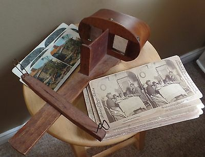 Antique Wooden STEREOSCOPE Viewer View MASTER with 19 Viewer CARDS
