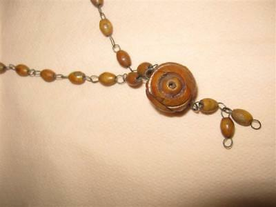 Vintage Israel Holy Land 60's Hand Made Natural Pits Beads Olive Wood Necklace