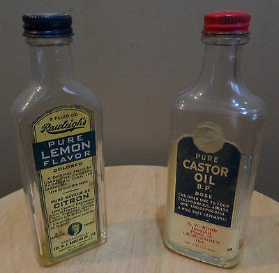2 Vintage Glass MEDICINE Bottles~Pure CASTOR OIL & RAWLEIGH'S Pure Lemon Flavor