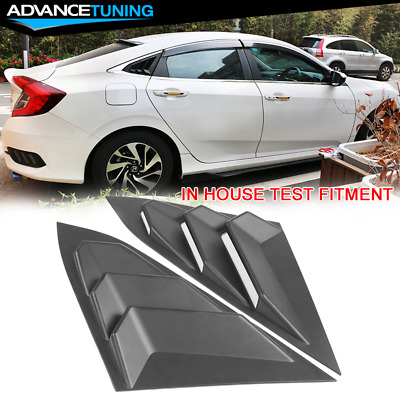 For 16-20 Honda Civic Sedan Rear Quarter Panel Side Window Louvers Vent Pair ABS