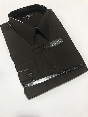 New BRUNO CAPELO Mens Dress Shirt Long Sleeves Cotton Blend Dark Brown BCDS-110