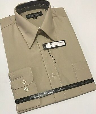 New BRUNO CAPELO Mens Dress Shirt Long Sleeves Cotton Blend Beige BCDS-109