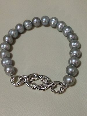 """Honora Sterling Silver 7-8MM Freshwater Cultured Pearl 7.5"""" Stretch Bracelet"""