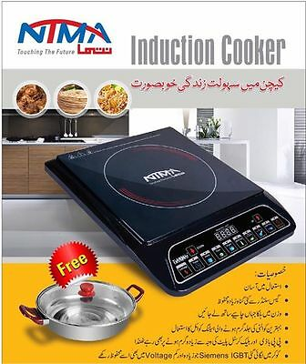 Electric Induction Cooker Hob Portable Single Digital LCD LED 2000W Black New