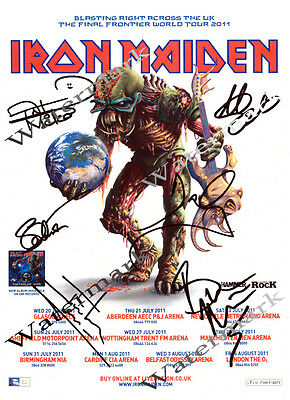 """IRON MAIDEN """"The Final Frontier World Tour 2011"""" (Size 8x11"""") Signed Poster (RP)"""
