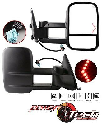 LED Signal Power Heated for 03-07 Silverado GMC Sierra Pickup Towing Mirrors Set