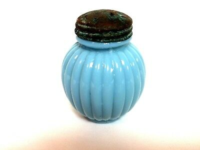 Victorian Blue Milk Glass Ribbed Shaker