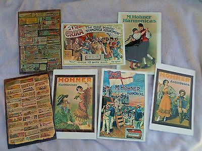 Set of 7!  Laminated Hohner Harmonica Advertising Box Art Poster / Placemats!
