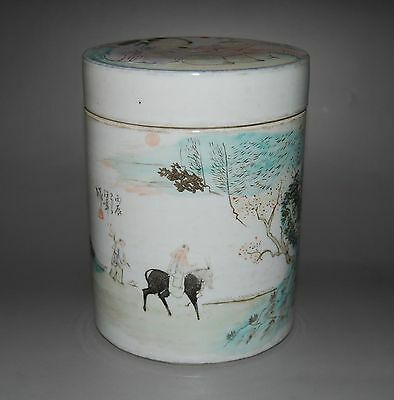 Chinese Famille Rose Porcelain Cylindrical Vase With Cover Person landscape # 2