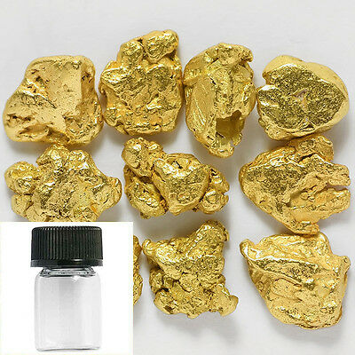 10 Pieces Alaska Natural Gold Nuggets with FREE BOTTLE (#384c)