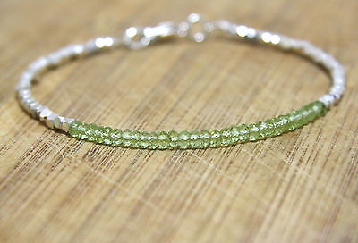 Natural Green Peridot Bead Bracelet Solid Sterling Silver August Gem Delicate