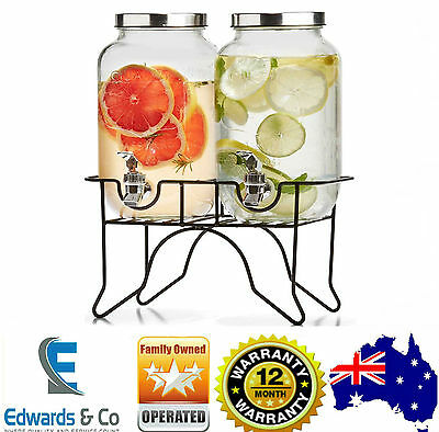 Dual Glass Drink Dispenser X2 Stand Tap Juice Beverage Beer Water Cocktail Party