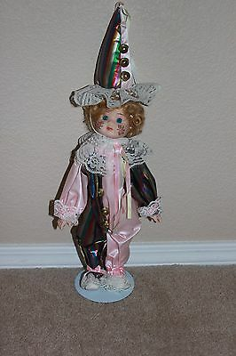 Porcelain Girl Clown Jester Doll Pink w Rose Cheeks on Stand w Hat NICE!