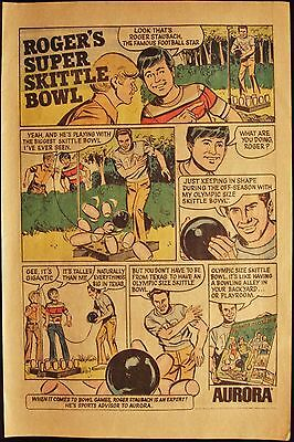 Roger Staubach - Skittle Bowl - Aurora - Vintage 1970's Comic Book Page Ad