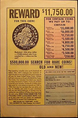 Old Coin - Search & Buy - Vintage 1972 Comic Book  Page Ad - Advertising