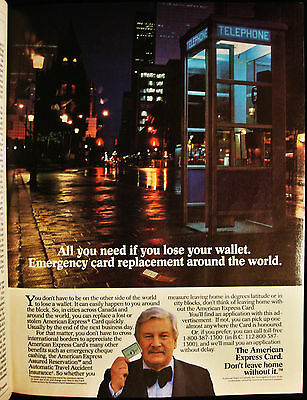 American Express- Credit Card- Don't Leave Home Without It -Vintage 1985 Page Ad