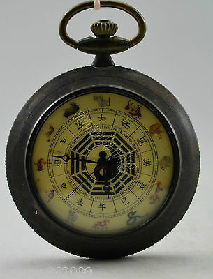 Old Collectible Decorate Handwork Copper 12 Zodiac Mechanical Pocket Watch
