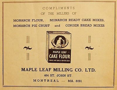 Maple Leaf Milling Co. Ltd- Cake Flour Ad- Vintage 1940's Advertising- Montreal